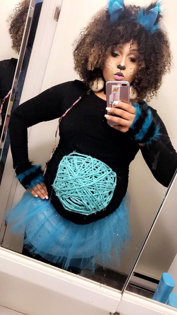 Pregnant halloween costume idea cat